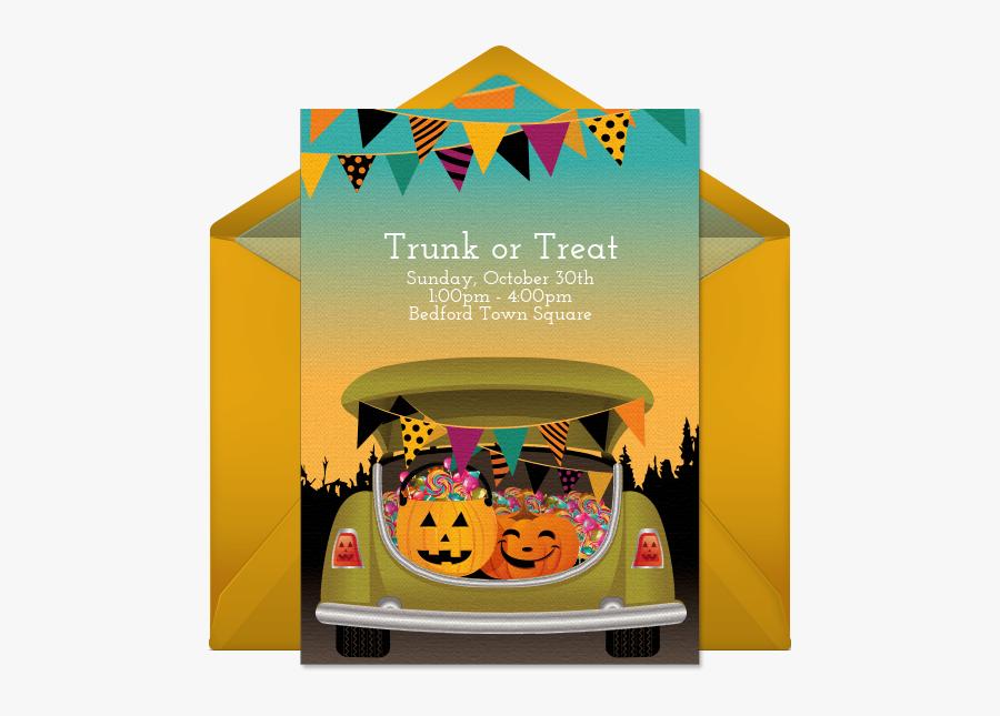 Free Editable Trunk Or Treat Invitations, Transparent Clipart