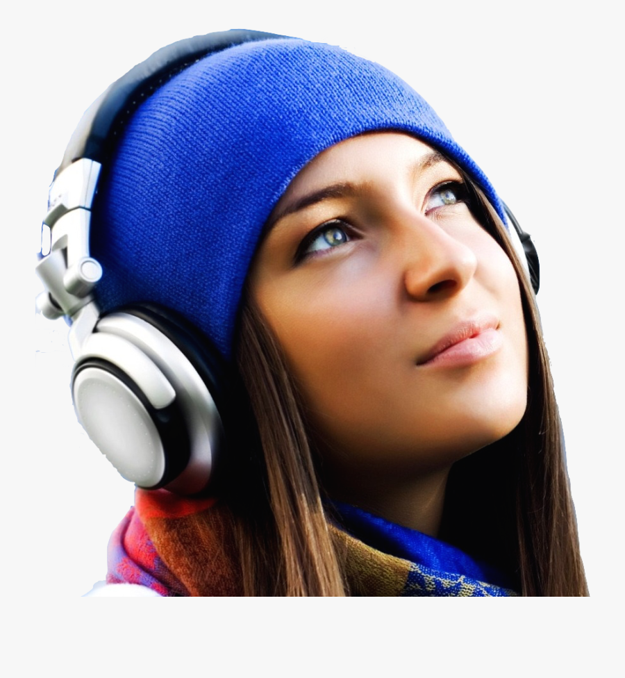Transparent Girl Listening To Music Clipart - Girl With Headphones Sky, Transparent Clipart