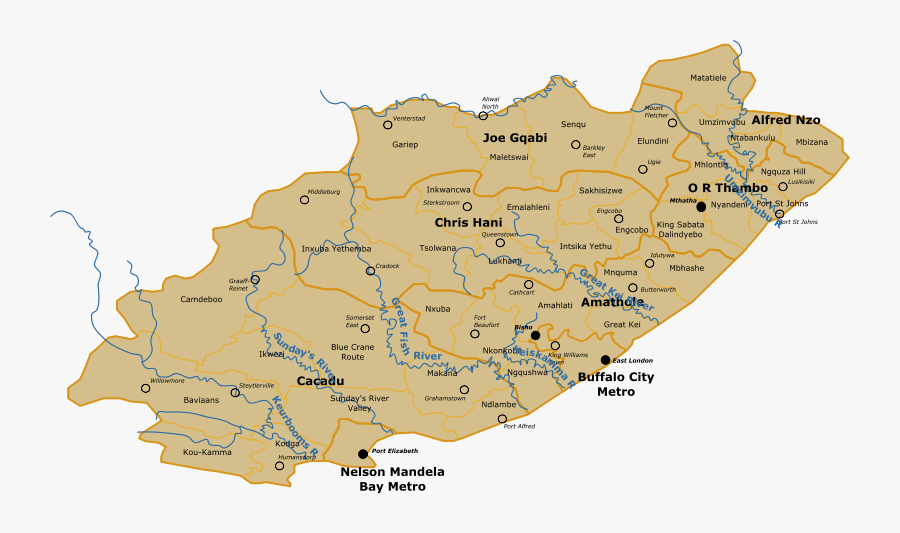 Sa Eastern Cape Map - Map Of Eastern Cape Rivers, Transparent Clipart