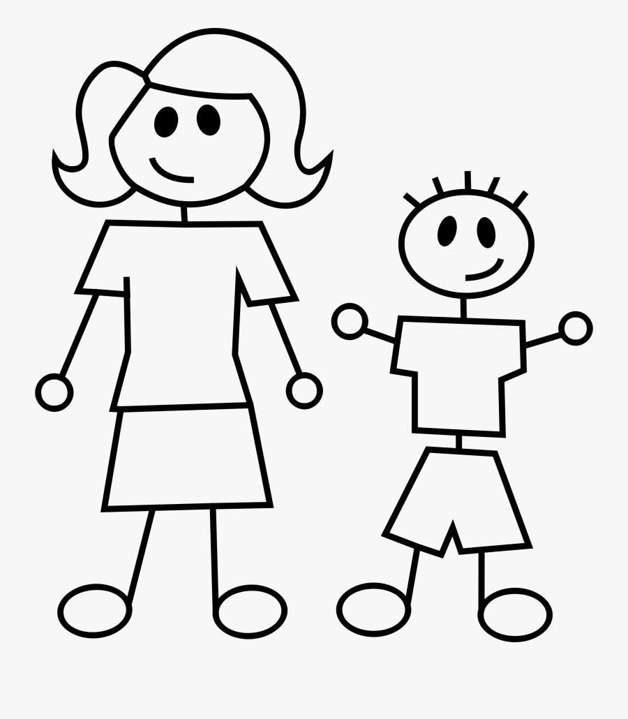 Clipart Children Stick Figure Stick Figures Clipart - Mother And Son Stick Figures, Transparent Clipart