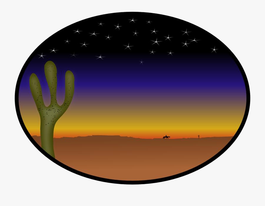 Cactus, Country, Cowboy, Desert, Stars, Sunset - Western Sunset Clipart, Transparent Clipart