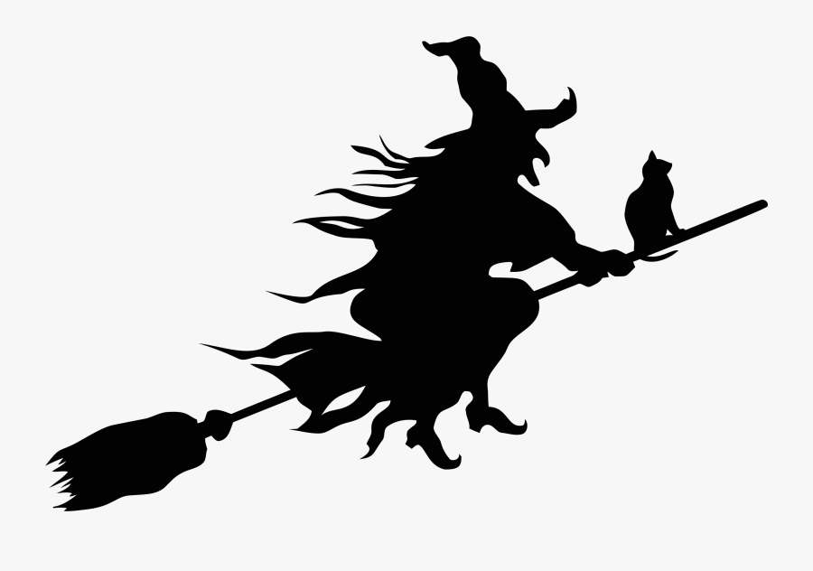 Clip Art Witch Silhouette Clip Art - Witch On Broomstick Clipart, Transparent Clipart