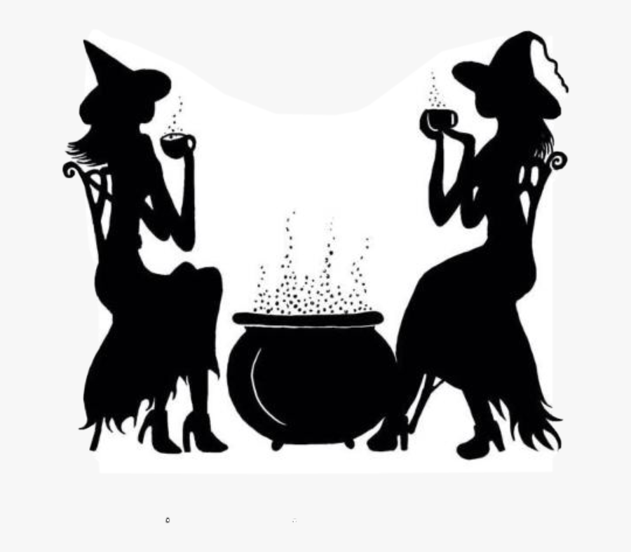 Halloween Silhouette Witch Brew Freetoedit Witch Cauldron Silhouette Free Transparent Clipart Clipartkey