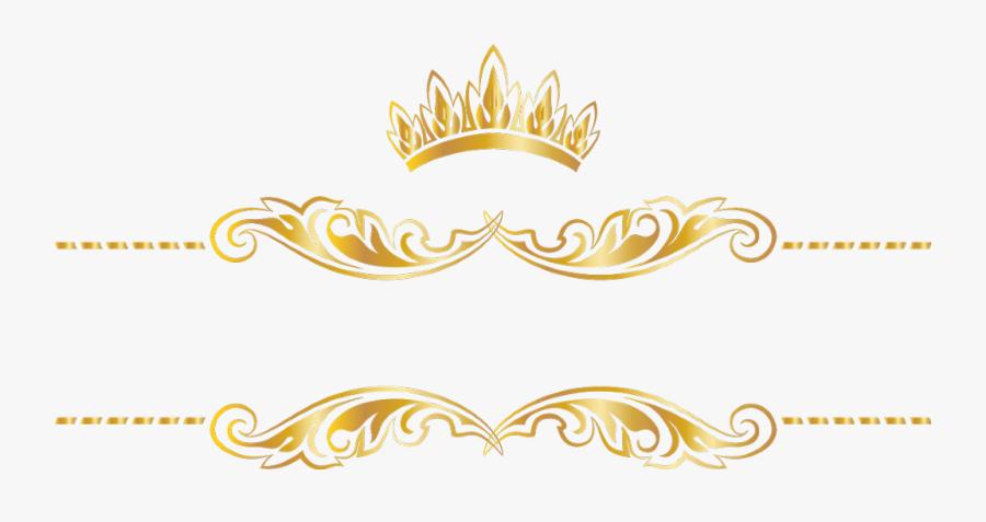 #gold #goldcrown #crown #swirls #banner #header #textline - Gold Crown Header, Transparent Clipart