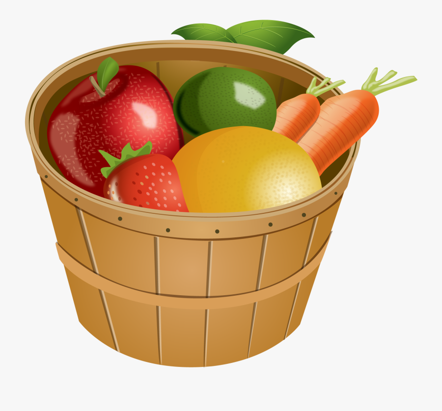 Lemons Clipart Basket Mango - Bucket Of Fruit And Vegetables, Transparent Clipart