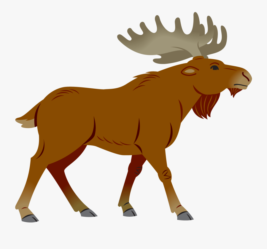 Moose Clipart Simple Cartoon - Cartoon Simple Moose, Transparent Clipart