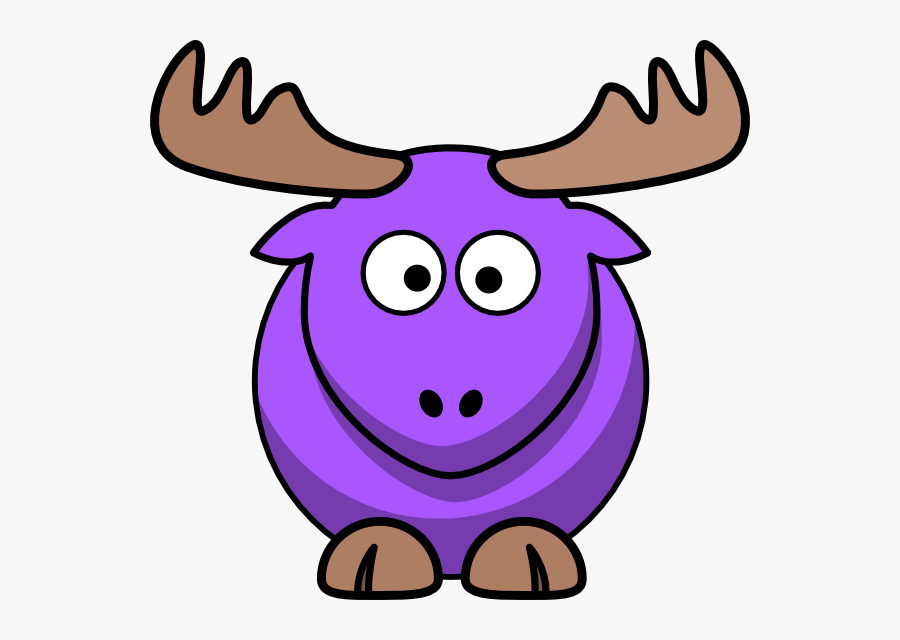 Purple Moose Cartoon Svg Clip Arts - Moose Animated, Transparent Clipart