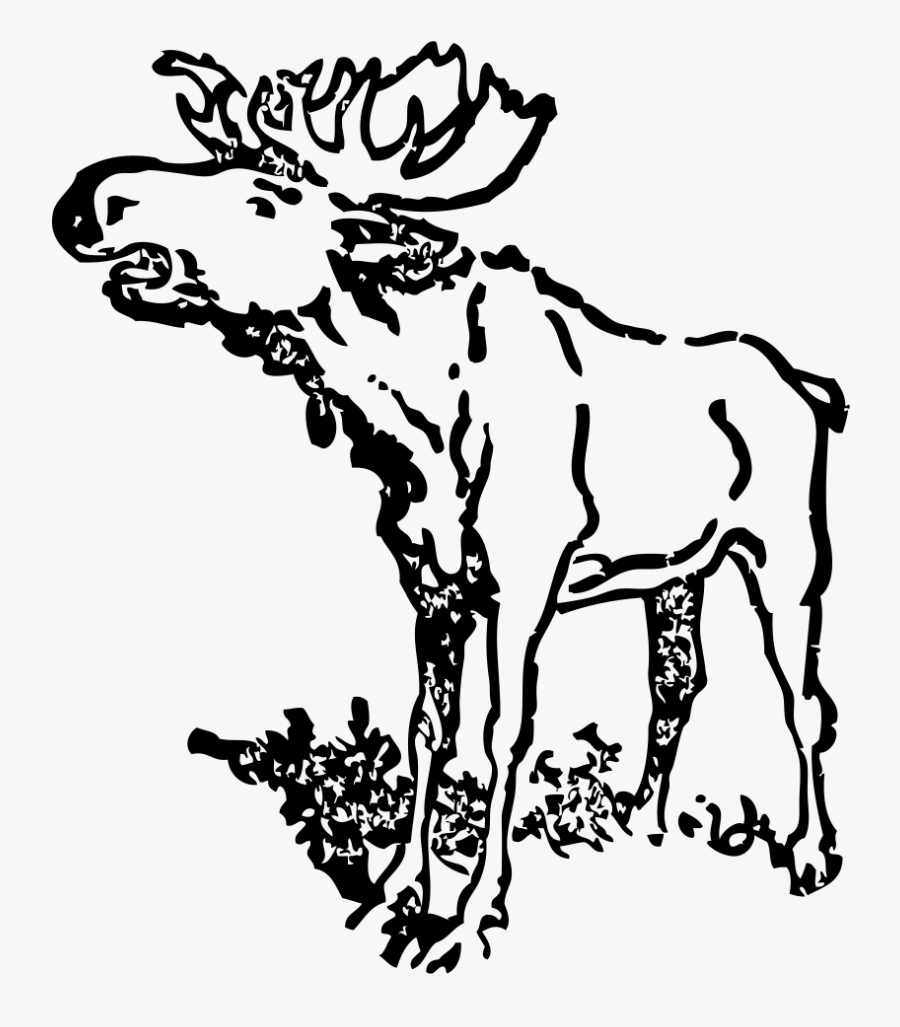 Black And White Moose Clip Art Realistic, Transparent Clipart
