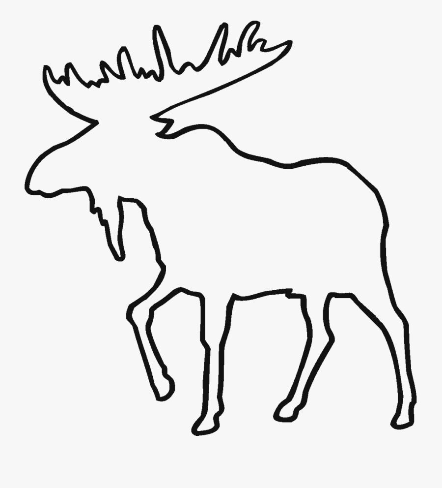 Moose Line Drawing - Moose Outline, Transparent Clipart