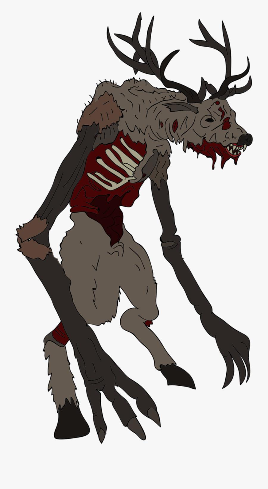 Character,elk,clip Art,moose,claw,tail - Wendigo Character Design, Transparent Clipart