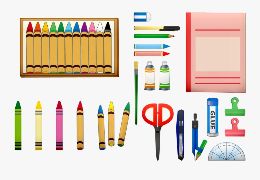 School Supplies Crayons Scissors School Color - Crayons Glue And Scissors Clipart, Transparent Clipart