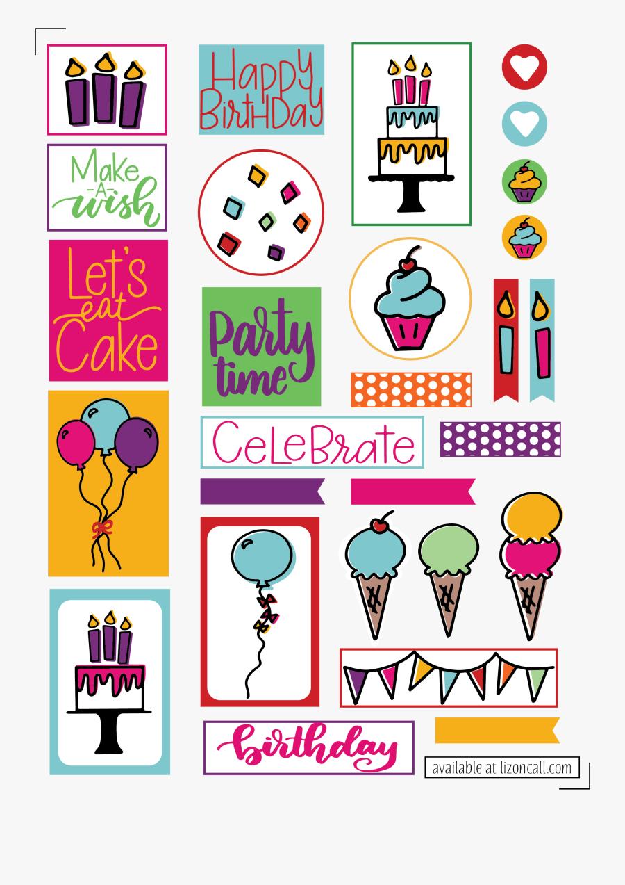 Transparent Birthday Clipart Free Printable - Printable Happy Birthday Stickers, Transparent Clipart