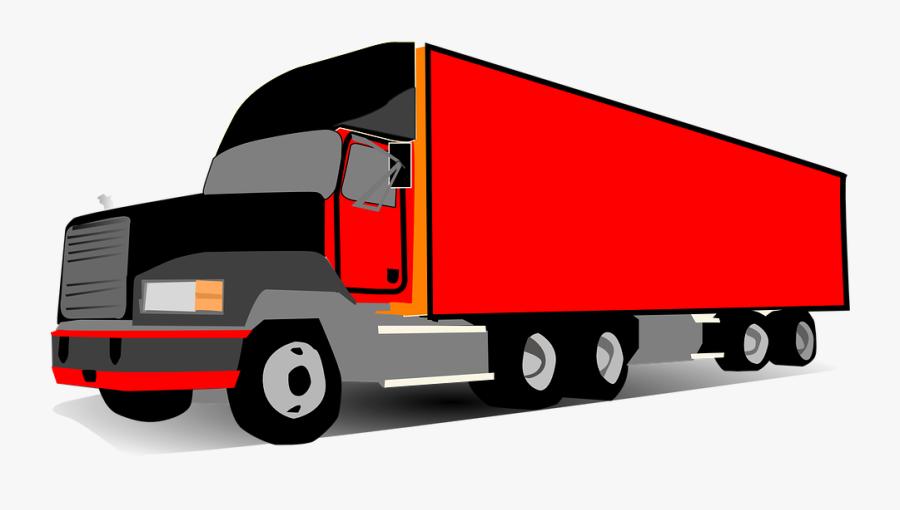 Transparent Semi Truck Clipart - Cartoon 18 Wheeler Truck, Transparent Clipart