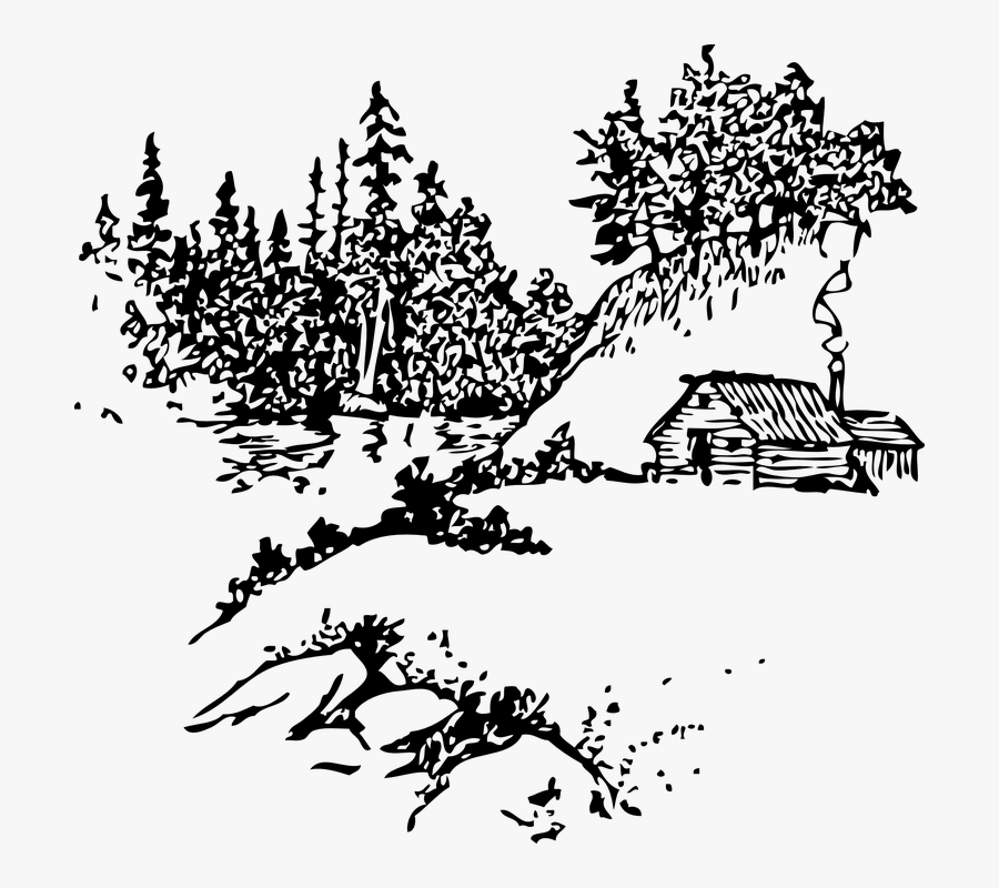 Cabin Clipart Mountain Cabin - Black And White Clipart Mountain Scenery, Transparent Clipart