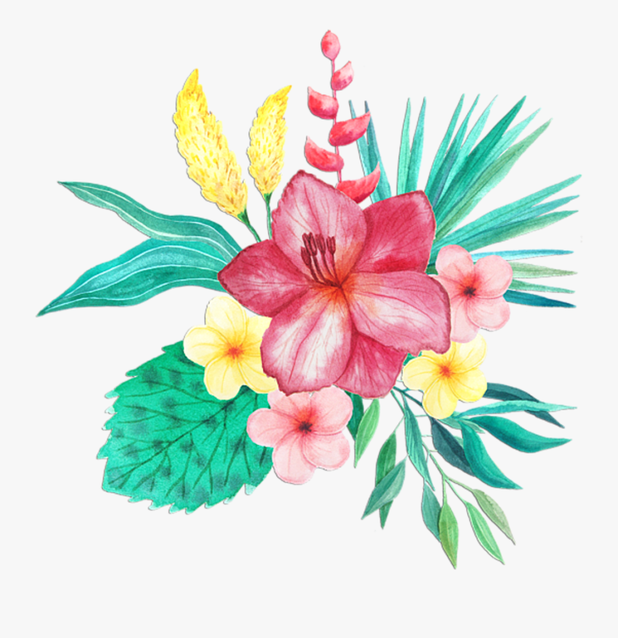 May Flowers Clip Art Tropical - Watercolor Tropical Flowers Png, Transparent Clipart