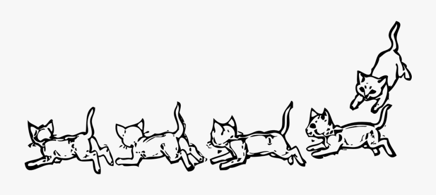 Animals Playing Fun Free - Free Black And White Clip Art Kittens, Transparent Clipart