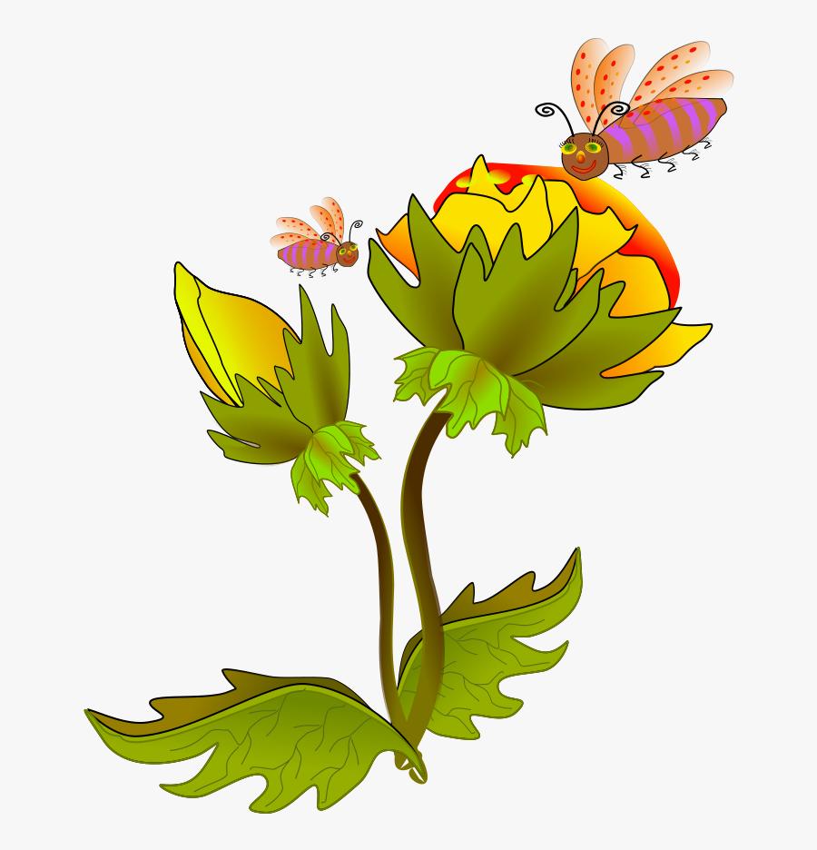 Hawaiian Flowers Cartoon Clipartsco - Flower With Bee Clipart Vector, Transparent Clipart
