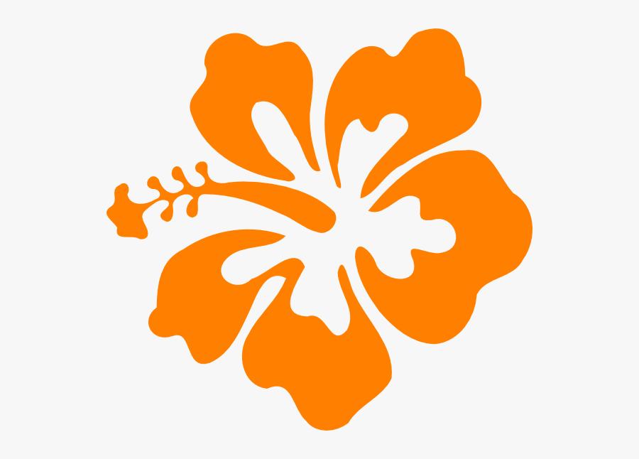 Hibiscus Clipart Different Flower - Orange Hibiscus Flower Clip Art, Transparent Clipart