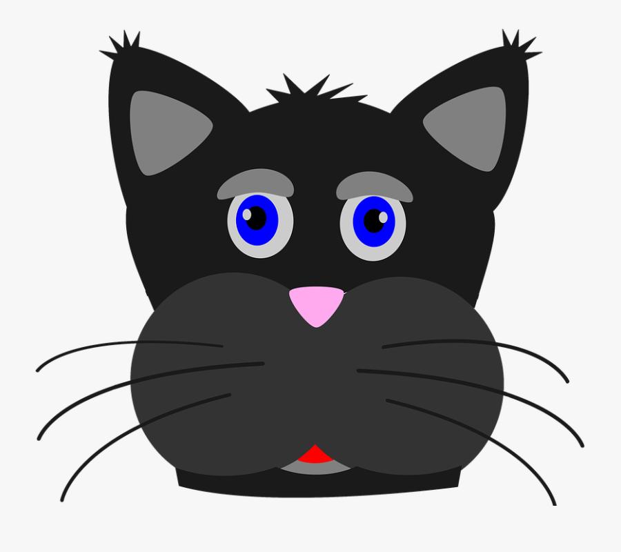Black Cat Cat Kitten Animal Pet Black Feline - Sad Cat Clip Art, Transparent Clipart
