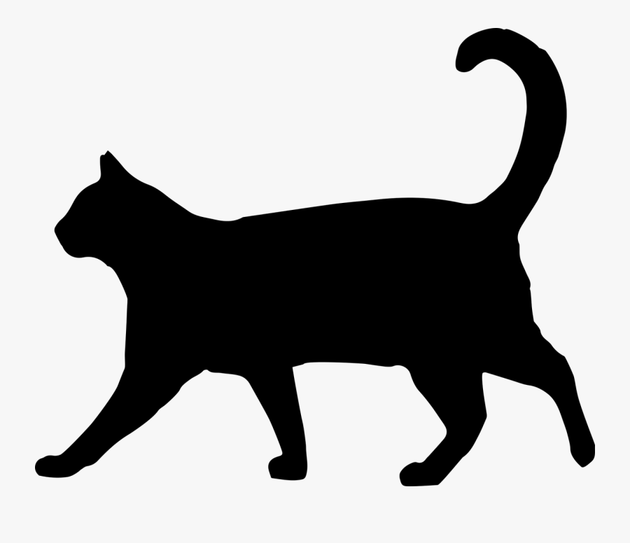 Black Cat Silhouette Clip Art 101 Clip Art - Black Cat Walking Silhouette, Transparent Clipart