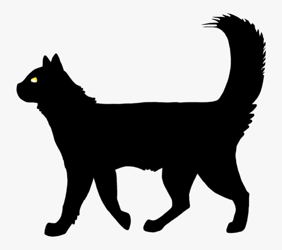 Cat Vector - Cartoon Black Cat Walking, Transparent Clipart