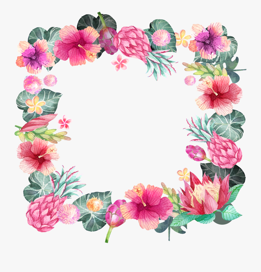 Hibiscus Clipart Hand Drawn - Pink Flower Clipart Watercolor Flower Border Png, Transparent Clipart