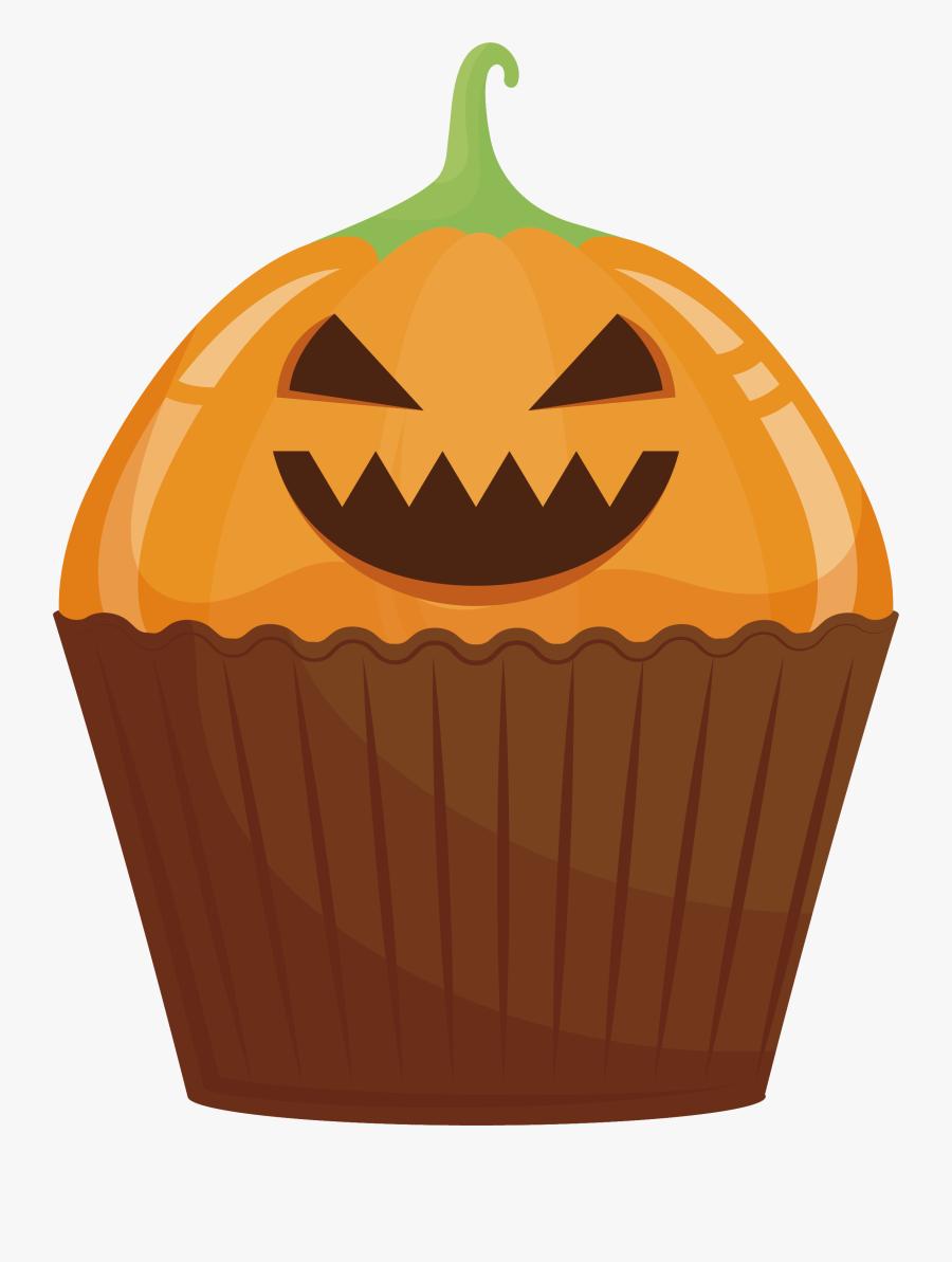 Jack O Lantern Cupcake Calabaza Halloween Cake Cucurbita - Jack-o'-lantern, Transparent Clipart