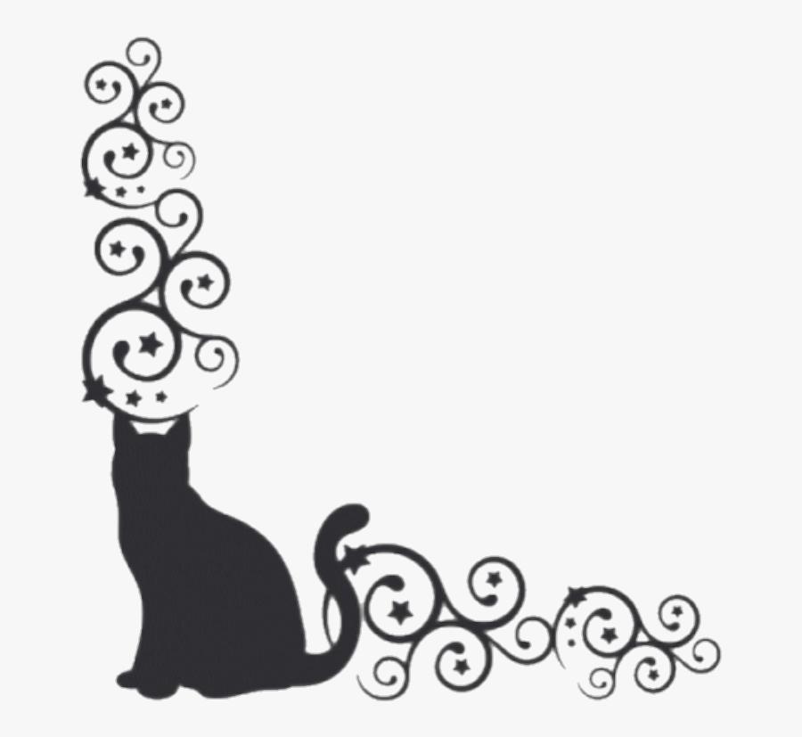 Borders Cat Kitty Cats Blackcat Pets - Black Cat Border, Transparent Clipart