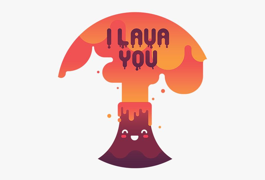 Punny Volcano Illustration Flat Gradient Lava Hot Warm - Poster, Transparent Clipart