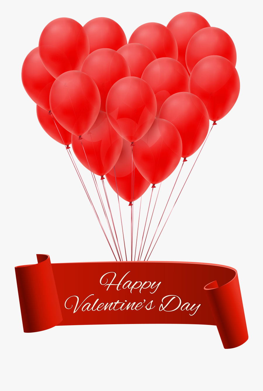 """Happy Valentine""""s Day Banner With Balloons Png Clip - Happy New Year 2019 In Advance, Transparent Clipart"""