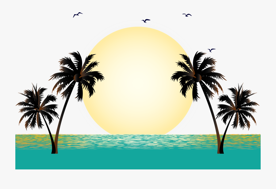 Summer Vacation Beach - Palm Trees Vector Png, Transparent Clipart