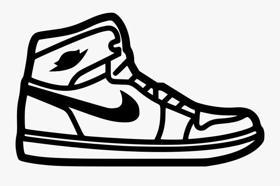 Footwear,shoe,clip Art,line Art,black And White,coloring - Nike Shoe Icon Png, Transparent Clipart