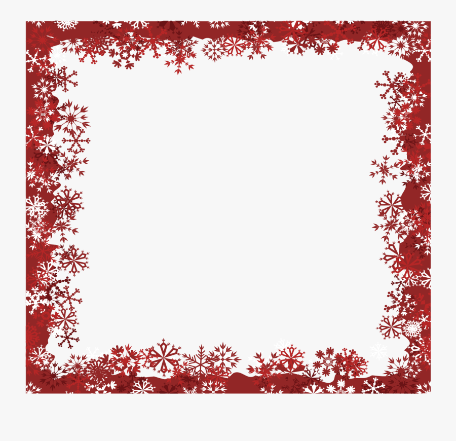 Snowflake Christmas Red - Red Snowflake Border Clipart, Transparent Clipart