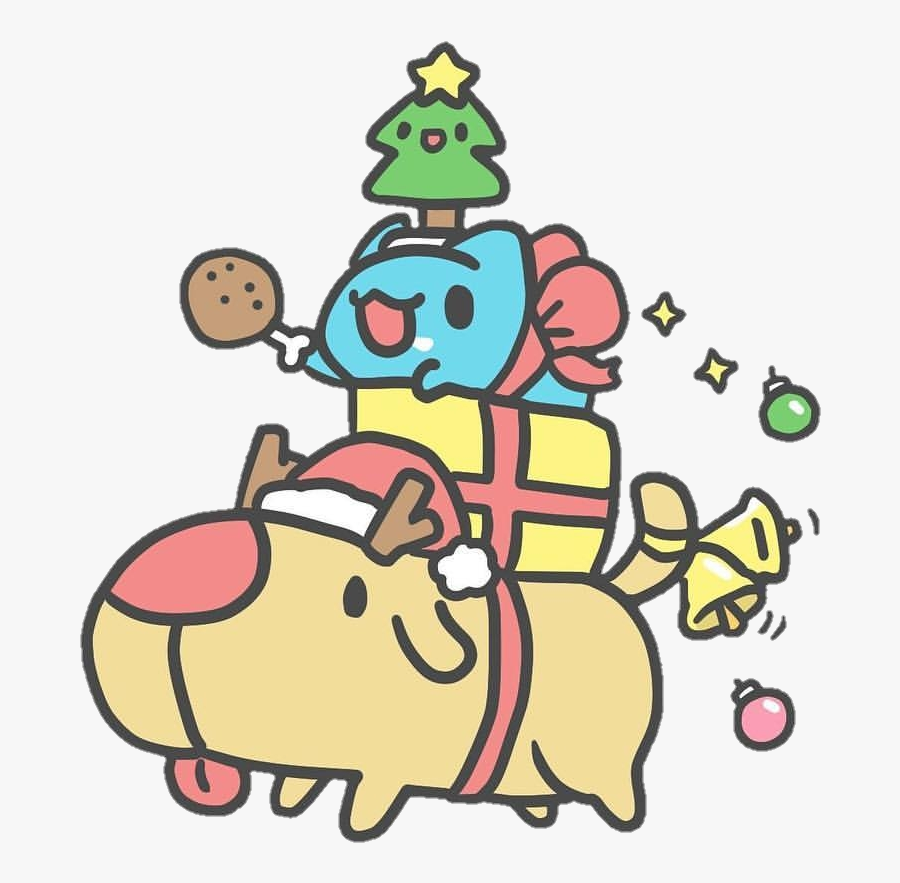 #bugcat #dog #christmas #xmas #reindeer #holiday #bell - Bugcat Christmas, Transparent Clipart