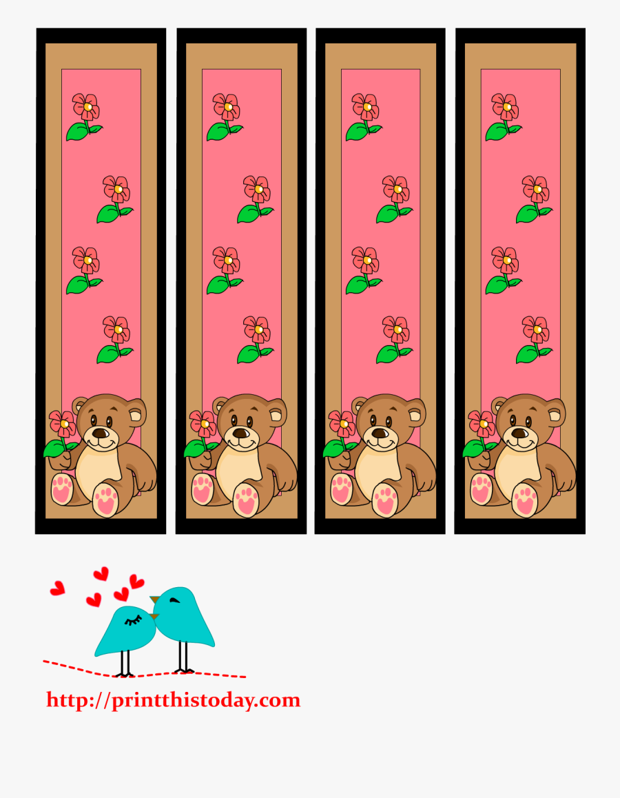 Bookmarks With Teddy Bear And Flowers Image - Teddy Bear Bookmarks Template, Transparent Clipart