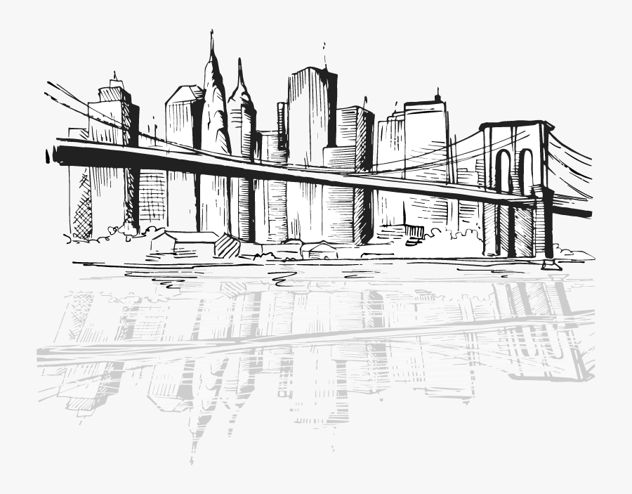 Locks Security Systems New York City Digital Art Drawing - New York Skyline Black And White Drawing Bridge, Transparent Clipart