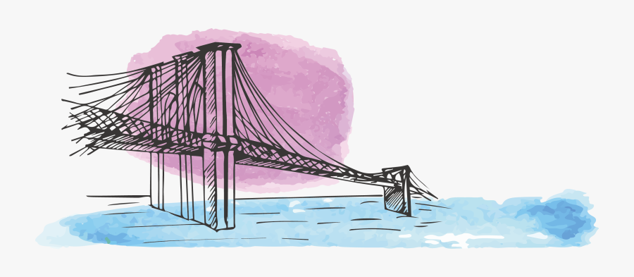 Brooklyn Watercolor Painting American - Cable-stayed Bridge, Transparent Clipart