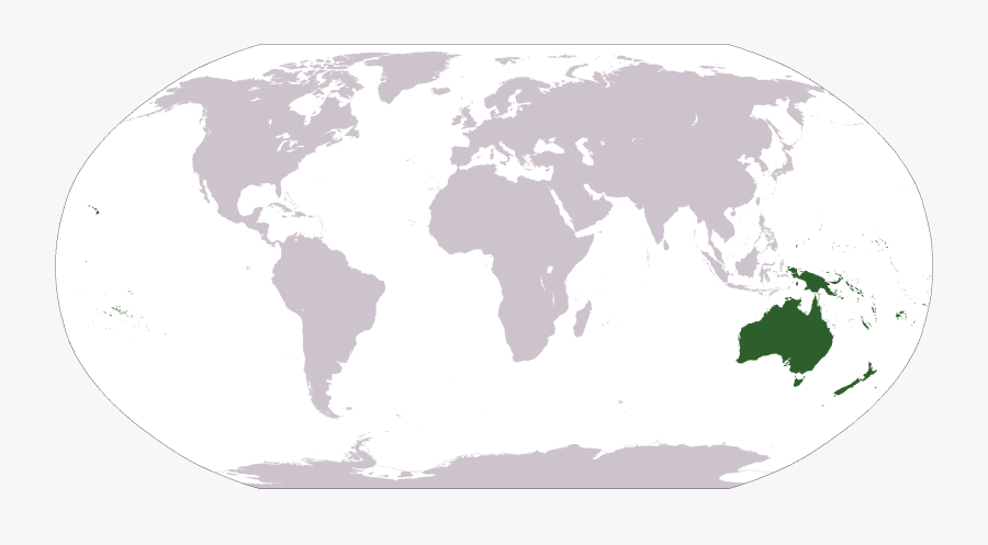 World Map With Oceania Highlighted, Transparent Clipart