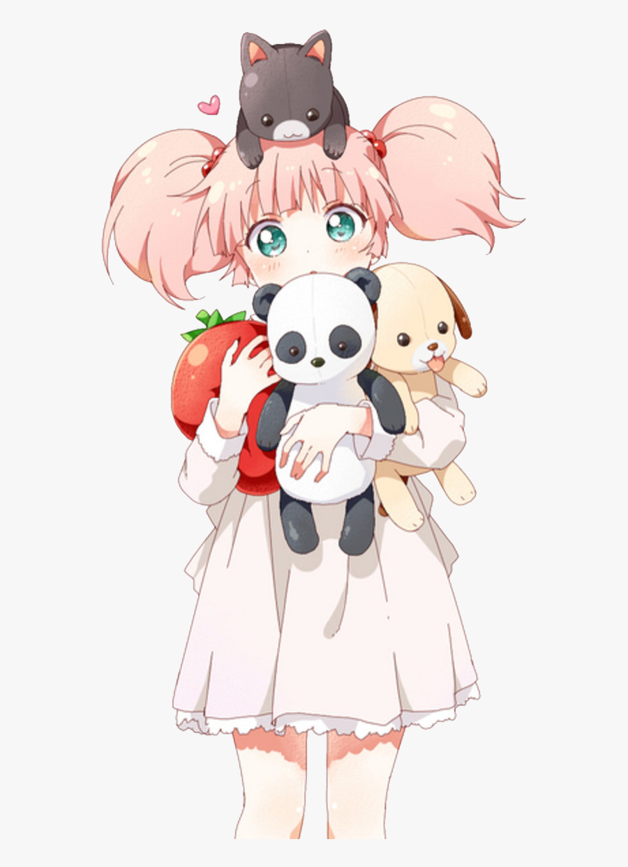 #girl #anime #kawaii #cat #meow #strawberry #panda - Pink Hair Anime Girl Pigtails, Transparent Clipart