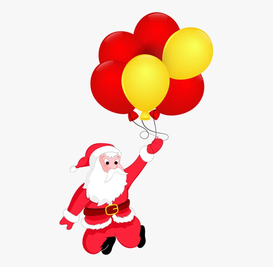 Gifs Tubes De Natal - Santa Claus With Balloon Drawing, Transparent Clipart
