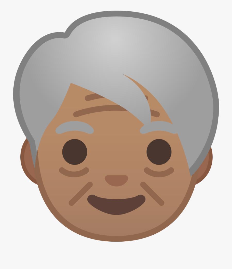Older Adult Medium Skin Tone Icon - Woman Emoji Png, Transparent Clipart
