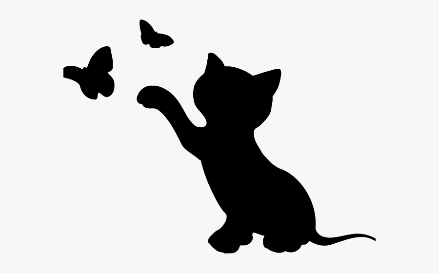 Kitty Cat Silhouette, Transparent Clipart