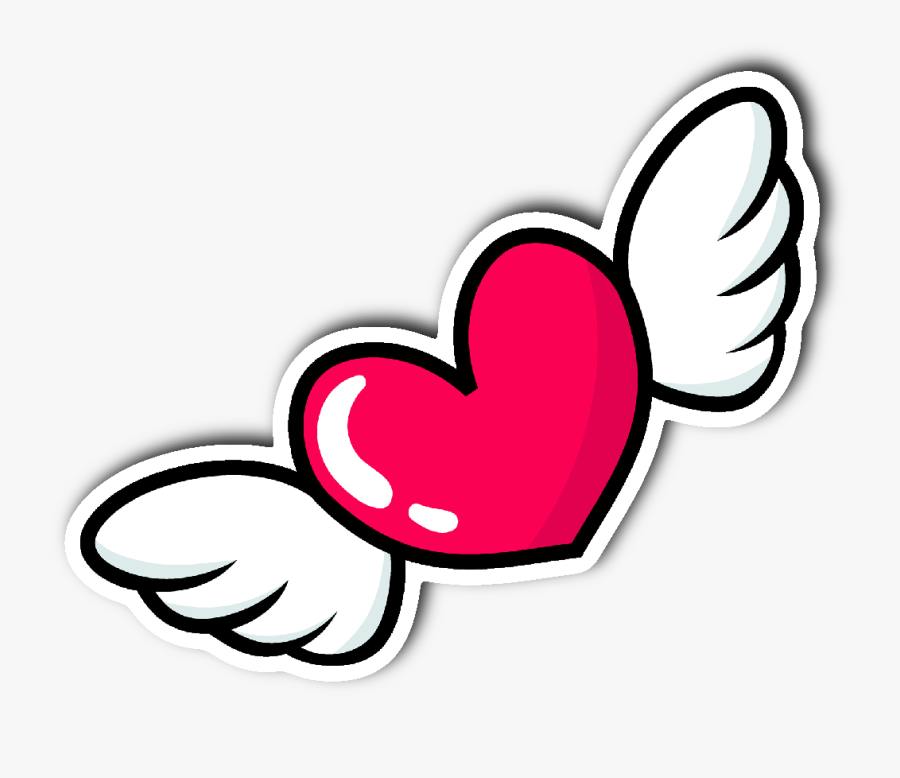 Heart With Wings Sticker, Transparent Clipart