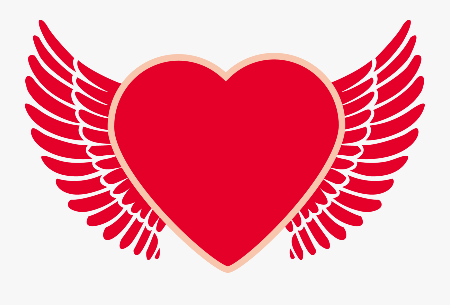 Transparent Heart With Wings Png - Angel Wing Heart Png, Transparent Clipart