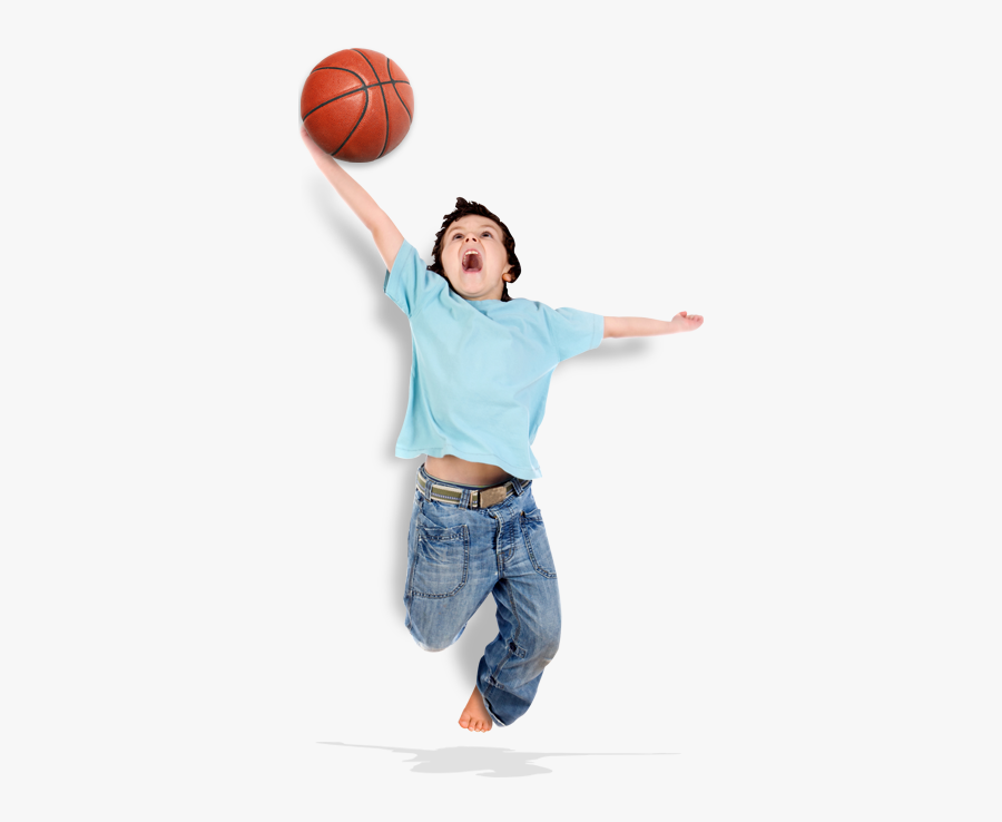 Slide - Boy Jumping With Basketball, Transparent Clipart