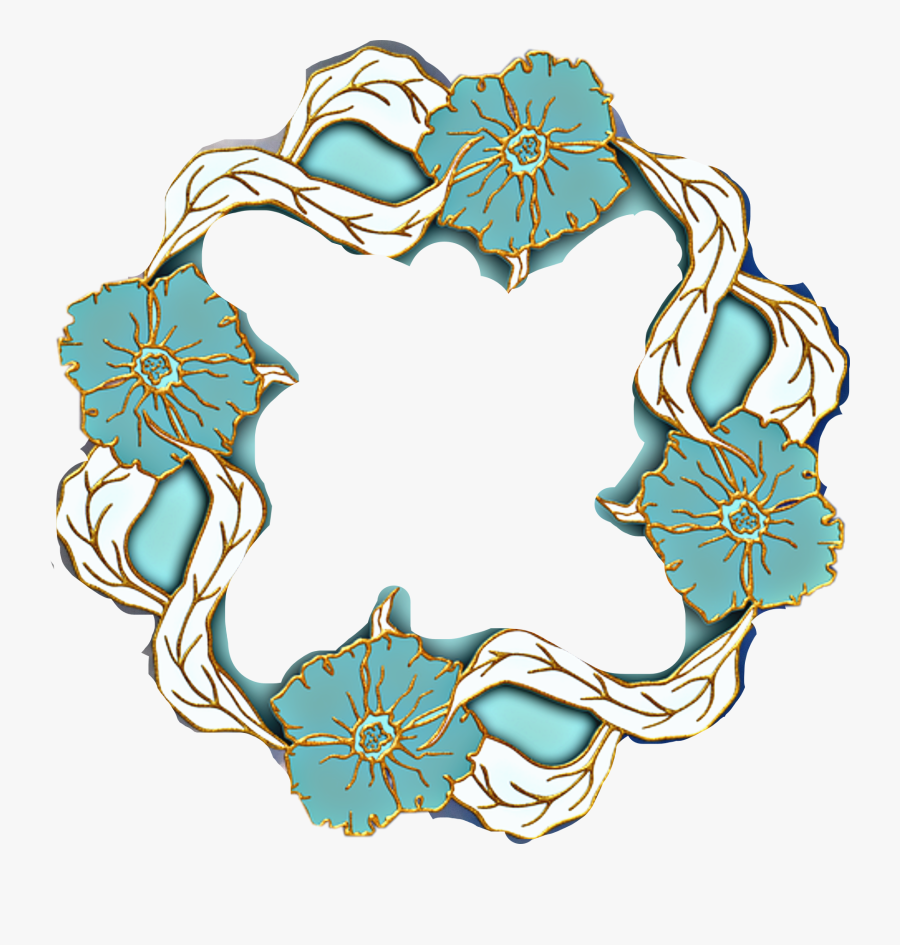 #freetoedit #turquoise #teal #white #gold #trim #frame - Flower Theme Letter L, Transparent Clipart