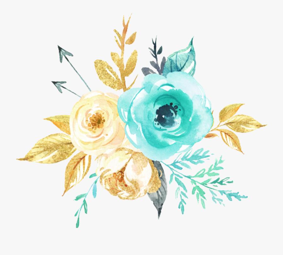 #watercolor #flowers #bouquet #mint #teal #gold #silver, Transparent Clipart