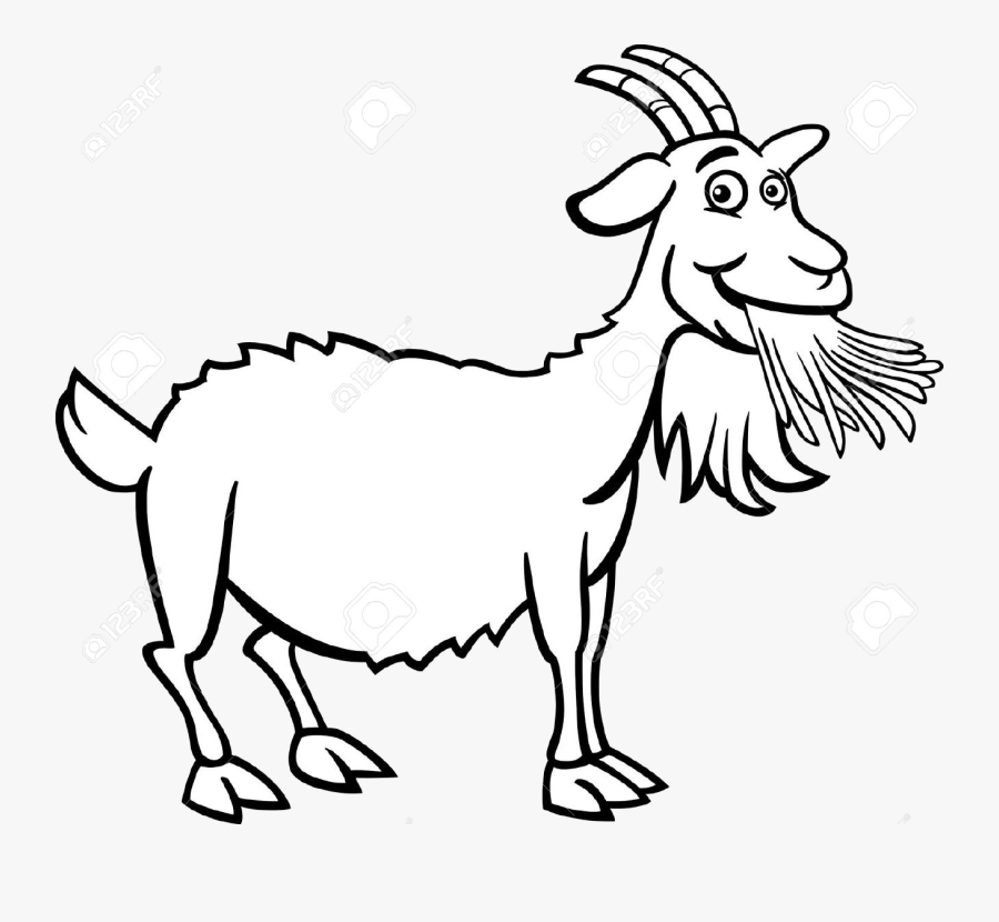 Goat Clipart Farm Animal Pencil And In Color Transparent - Clip Art Black And White Goat, Transparent Clipart