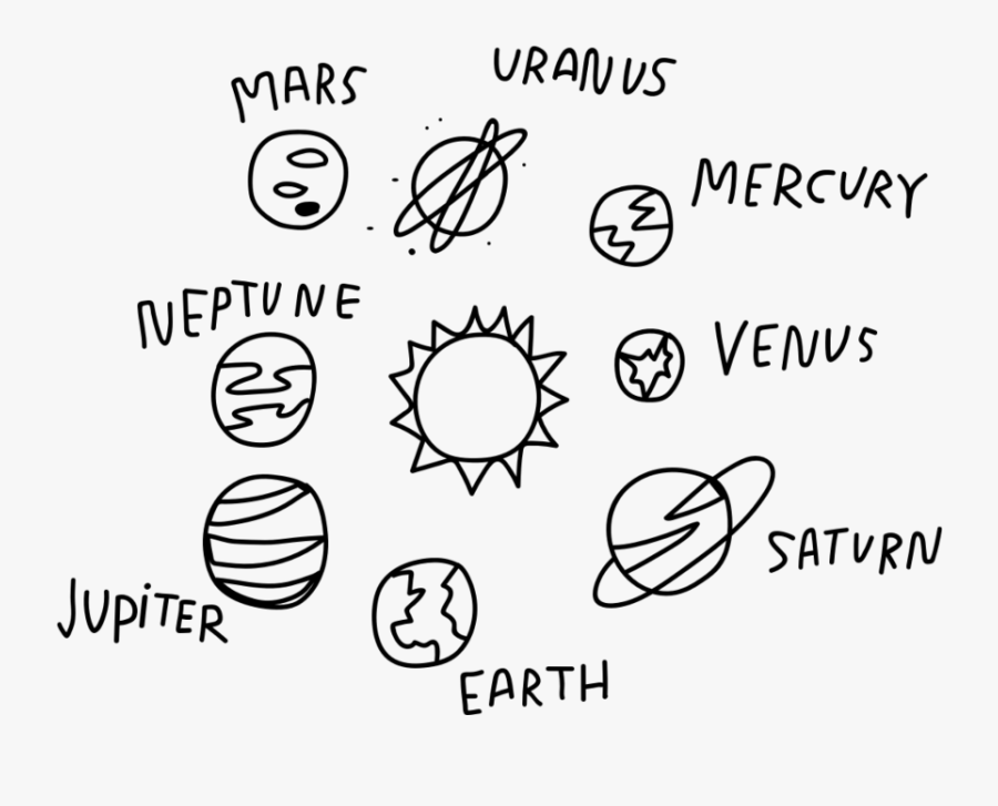 #planet #space #doodle #tumblr #galaxy #sun #moon #earth - Aesthetic Simple Planet Drawing, Transparent Clipart