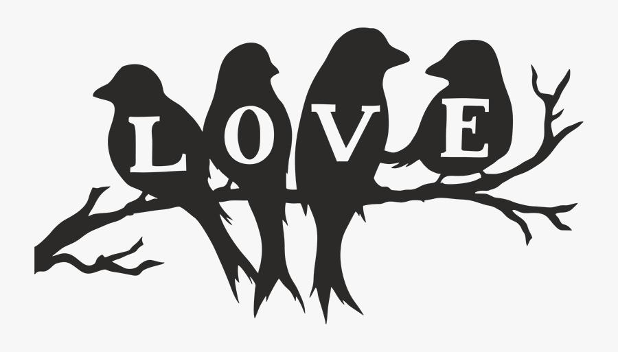 Silhouette Stencil Image Love Bird - 4 Birds On A Branch Silhouette, Transparent Clipart
